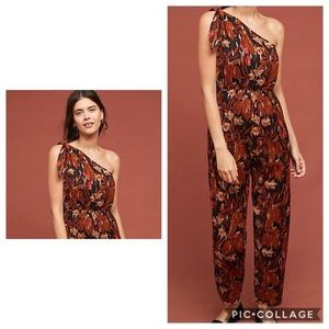 Anthropologie Maeve brown one shoulder jumpsuit